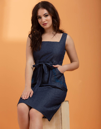 embroidery detail semi fit chambray dress