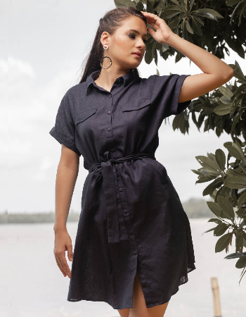 Drop Shoulder Linen shirt Dress