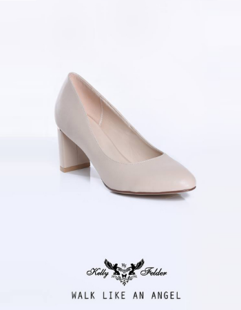 """ Paola "" Gold Highlighted Block Heel Pump"