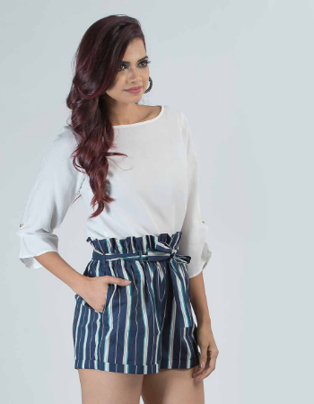 Stripe High Waisted Short