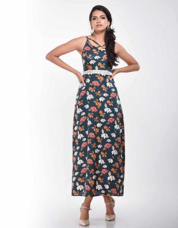 Printed Waist Trim Strappy Dress
