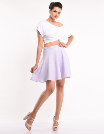 TEXTURED FABRIC SKATER SKIRT