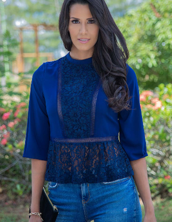 Lace Combo Peplum Top