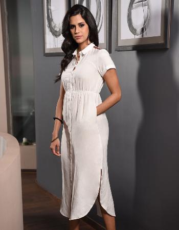 Short Sleeve Linen Maxi