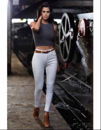 High Waist White Jean
