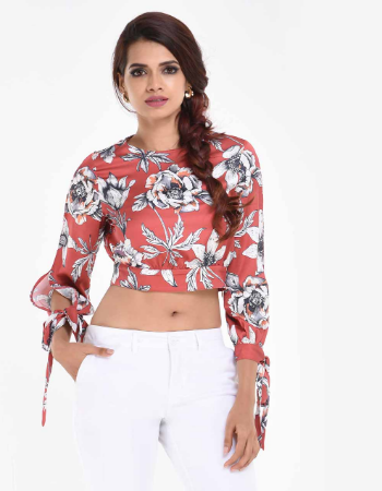 Floral Sleeve Slitted Top