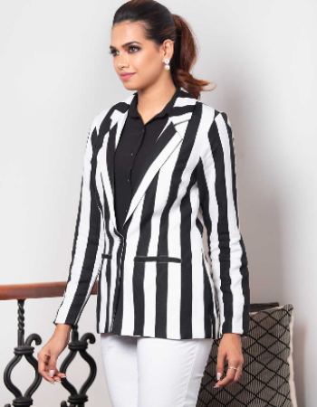 Stripe Block Blazer