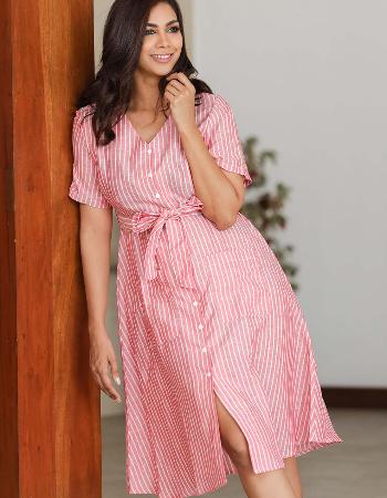 Striped Tie Knot Linen Dress