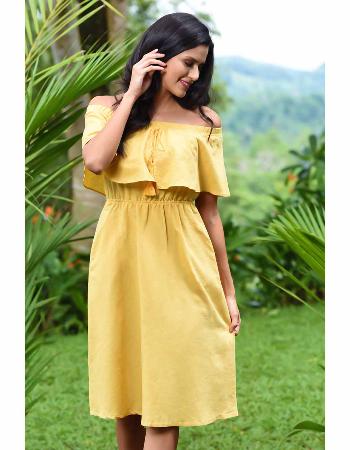 Off Shoulder Midi Linen Dress