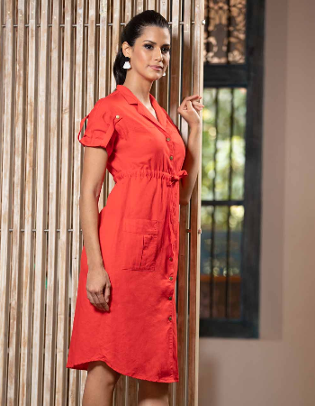 Tab Details Midi Dress