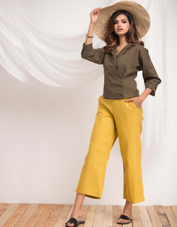 Drop Shoulder Puff Sleeve Linen Top