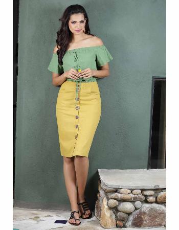 High Waist Linen Midi Skirt