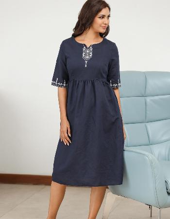 Embroidery Detail Midi Linen Dress