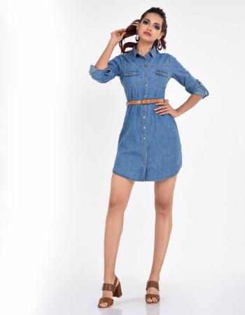 Long Sleeve Chambray Shirt Dress !