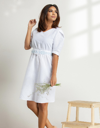 Belt Embo Midi Linen Dress