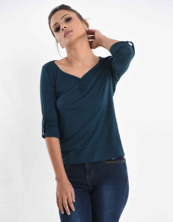 Turn Up Sleeve V Neck Top