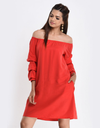 Layered Sleeve Off Shoulder Dress