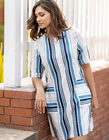 Turn Up Sleeve Linen Dress