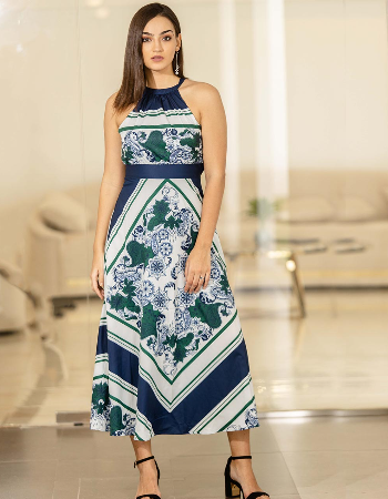 Morroccon Placement Print Maxi Dress