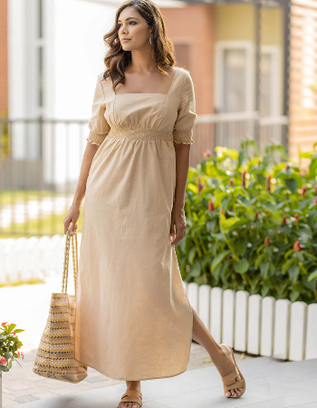 Butterfly Touch Linen Maxi Dress