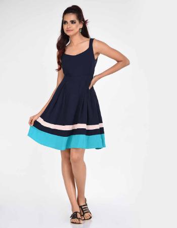 Contrast Hem Linen Dress