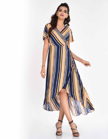 Stripe Wrap Dress With High-low