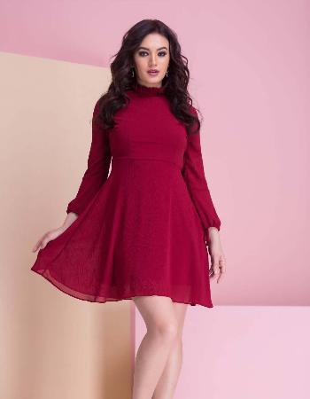 Long puff sleeve skater length dress