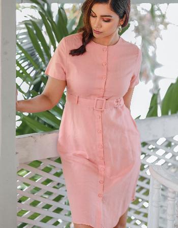 Belted Short Sleeve Linen Dress