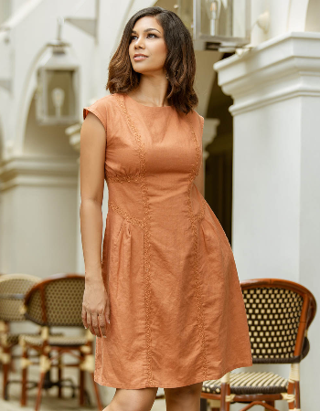 Embroidered Drop Shoulder Linen Dress