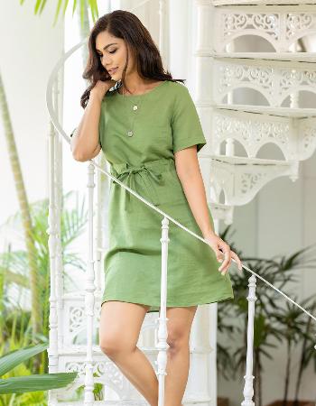 Waist Tie Linen Dress