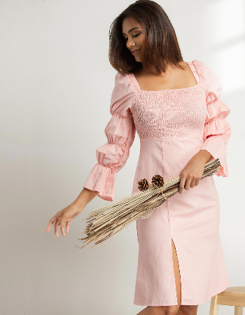 Smocking Linen Midi Dress