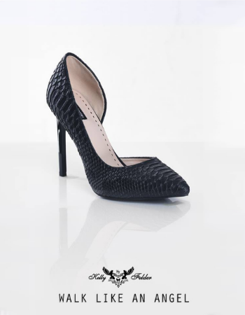 """Divine Duchess"" Snake skin Pointed-toe Stilleto With Angular Cutout"