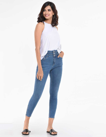 Three Button High Waist Jean