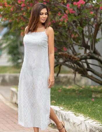 Simply Beauty Linen Maxi Dress