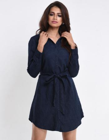 Navy Blue Stripe Shirt Dress