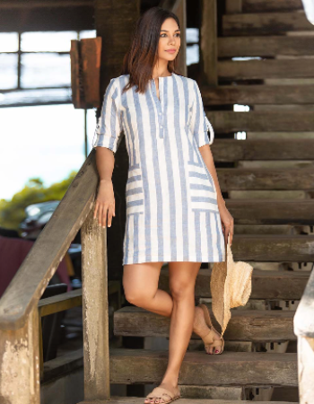Turn Up Sleeve Linen Dress