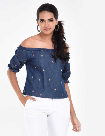 Embroidery Chambray Top