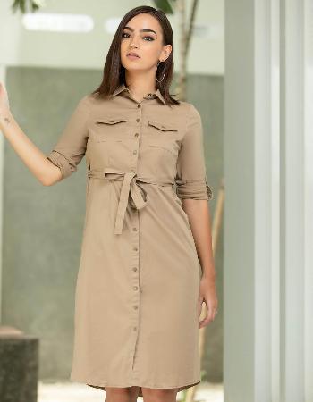 Twill Midi Dress _