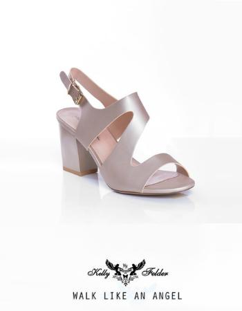 """ Micaela "" Surface shimmer-Block Heel Sandal"