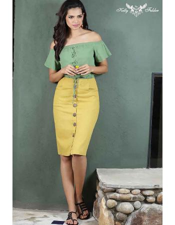 High Waist Linen Knee Skirt