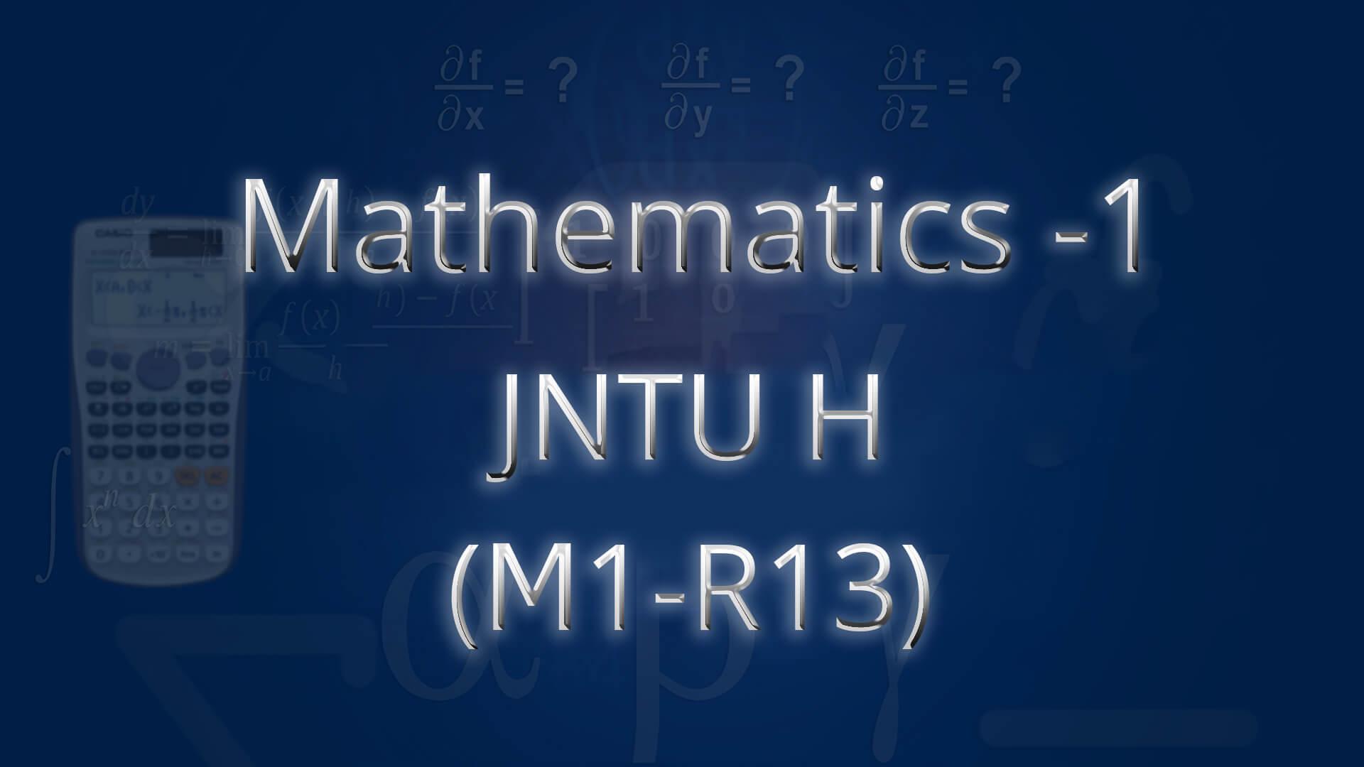 JNTUH M1(R13)  online videos