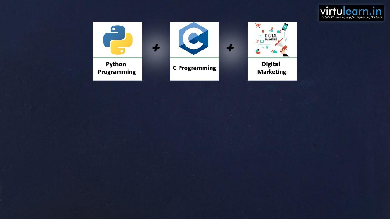 C Programming + Python + Digital Marketing online videos