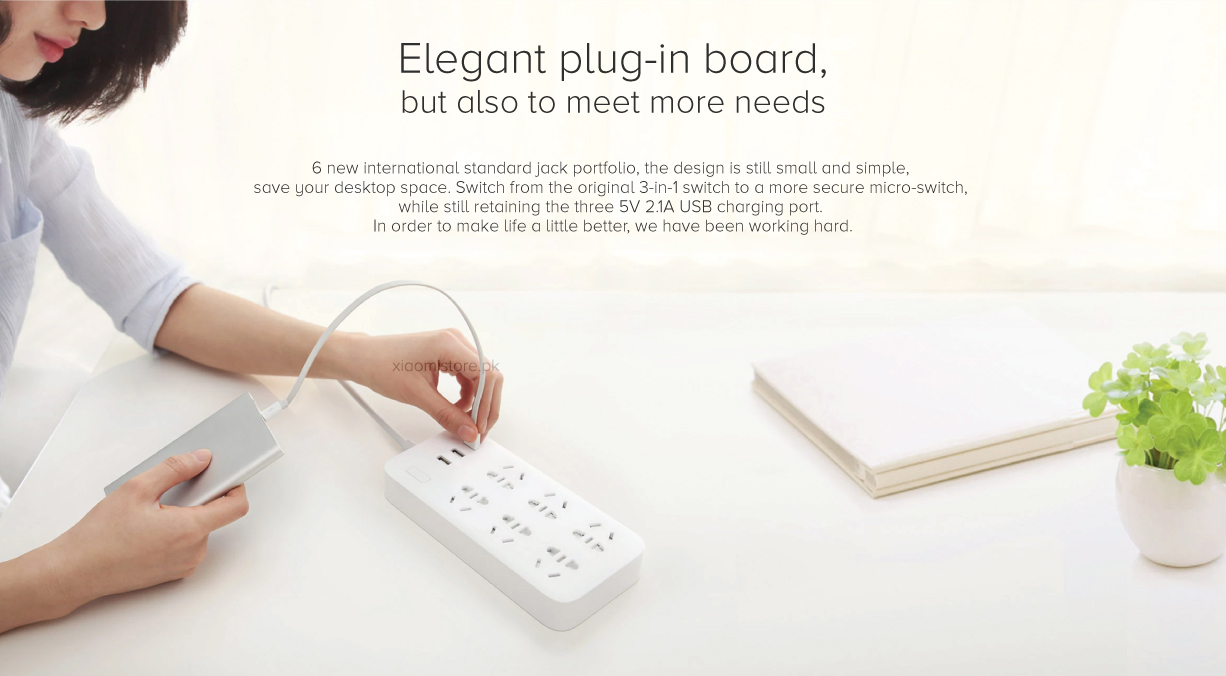 Xiaomi Mi Power Strip 3 Usb 6 Sockets Price In Pakistan Smart Plug Adapter With Port 2a