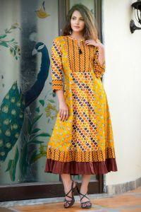 Brown frilled cotton kurta