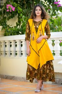 Contemporary kurti with embroidered jacket