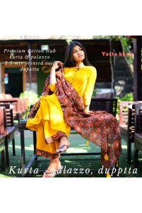 Mustard solid kurta palazzo set with printed dupatta