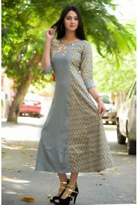 Grey rayon embroidered half and half kurta