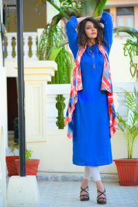 Beautiful rayon kurta with tie dye shrug
