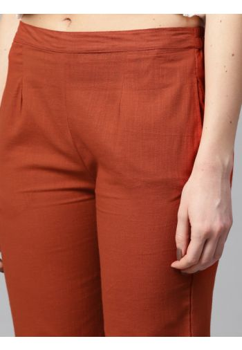 Yufta Women Rust Red Regular Fit Solid Regular Trousers