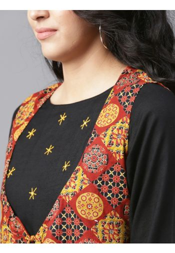 Yufta Women Black Brown Solid A-Line Kurta with Ethnic Jacket